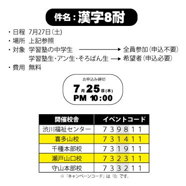 2013漢字8耐 お申し込み